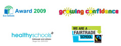 Healthy Schools, Eco Schools, Confident Schools and Fair Trade Schools' logos